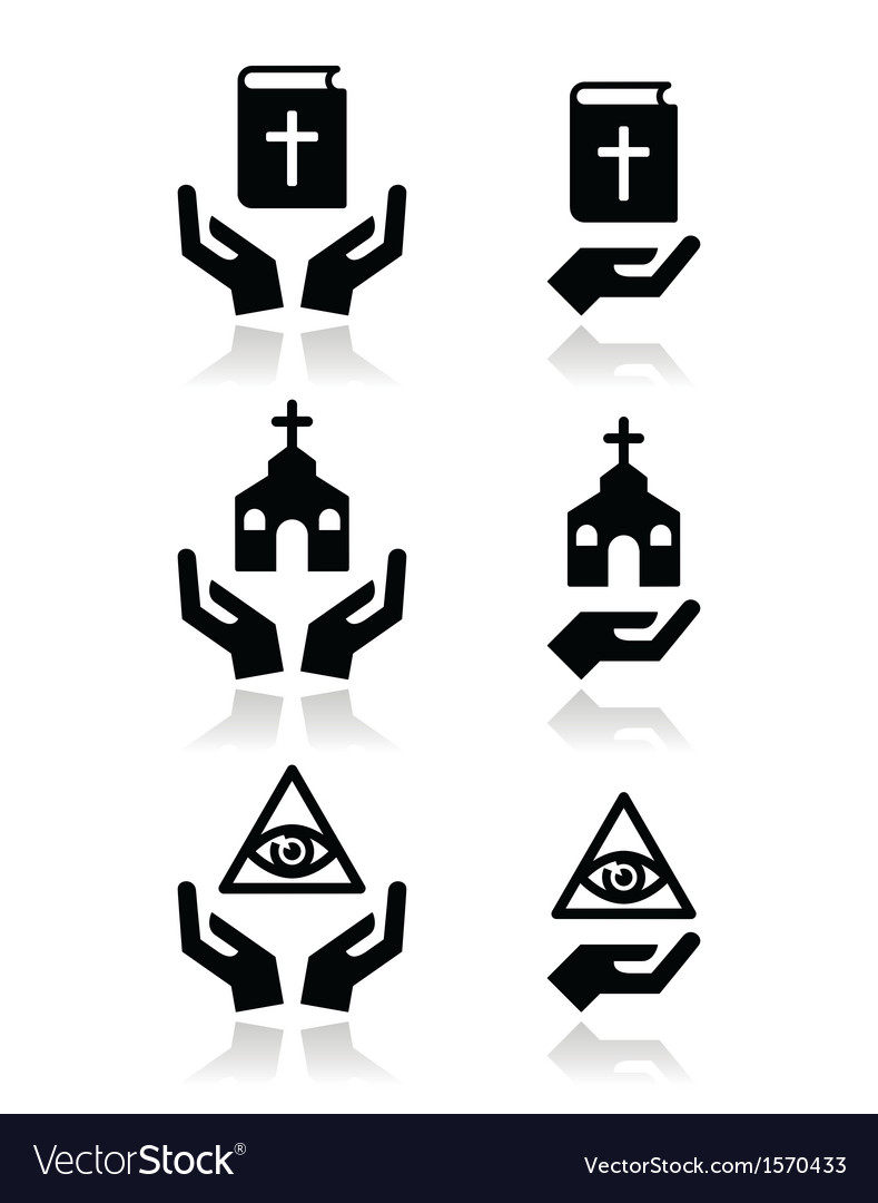 Religion icons - hands with bible church eye vector | Price: 1 Credit (USD $1)