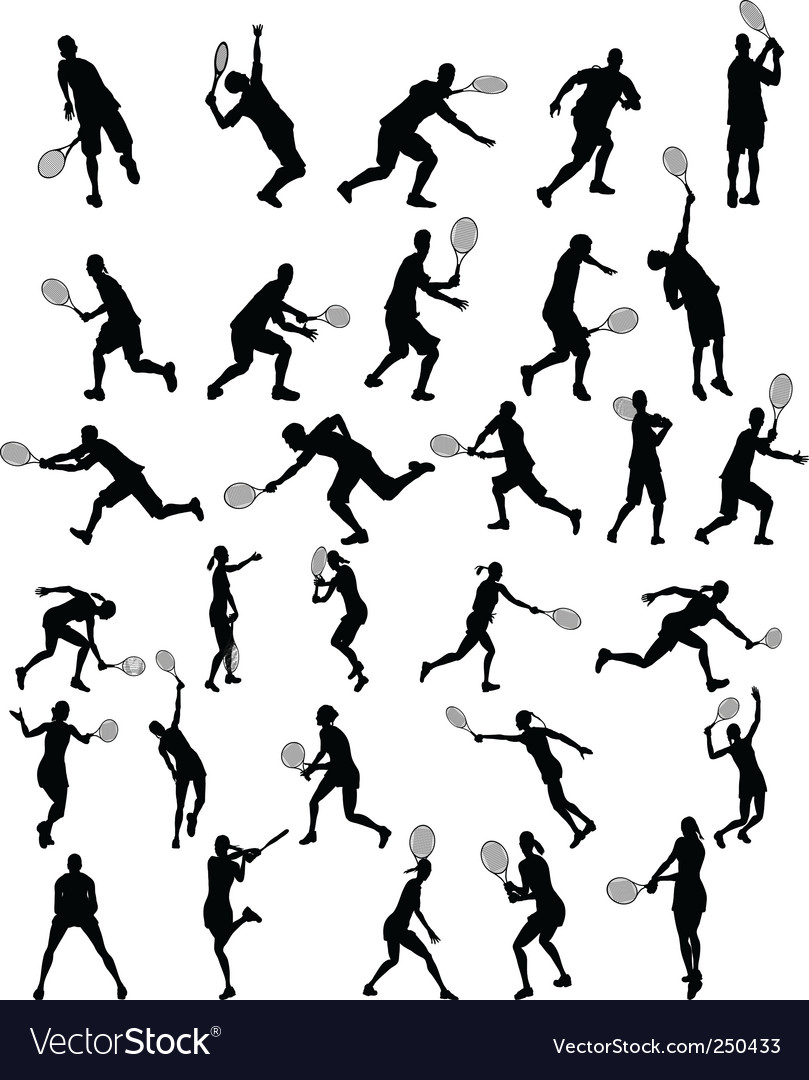 Tennis silhouette vector | Price: 1 Credit (USD $1)