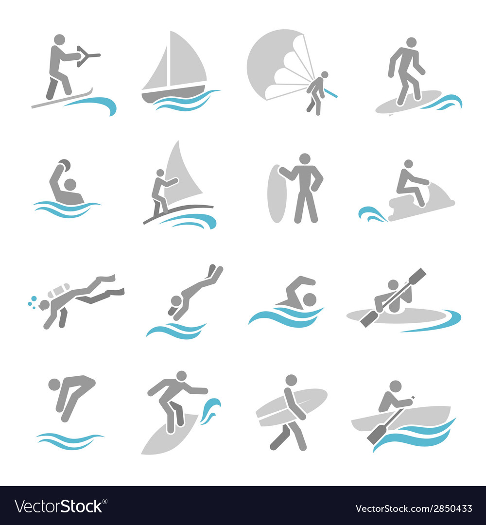 Water sports icons set vector | Price: 1 Credit (USD $1)