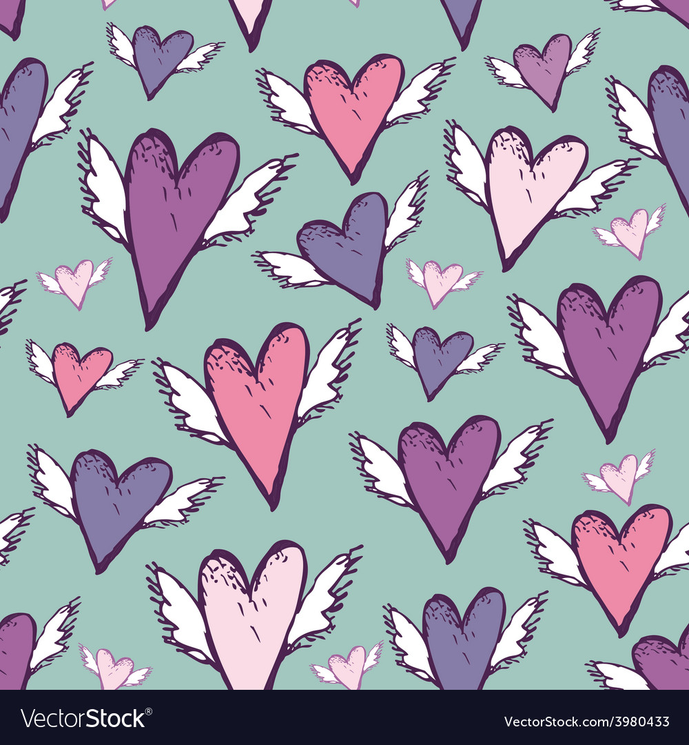 Wedding romantic seamless hearts with wings sketch vector   Price: 1 Credit (USD $1)