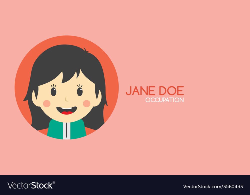 Woman cartoon theme business card vector | Price: 1 Credit (USD $1)