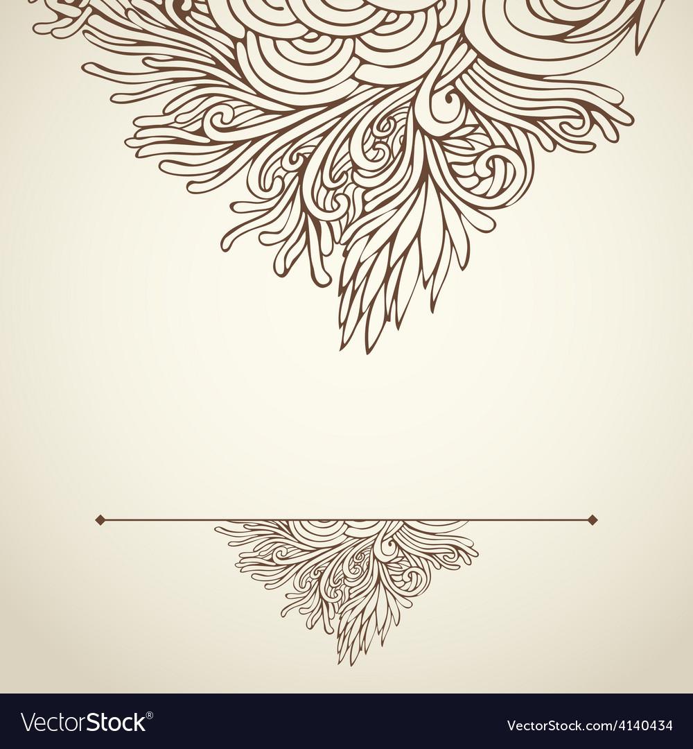 Brown outline floral on light 02 vector | Price: 1 Credit (USD $1)