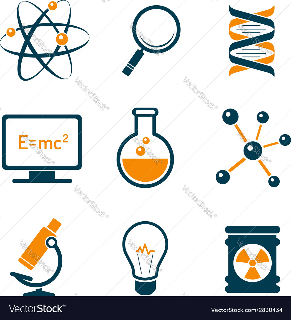 Chemistry and bio technology icons vector | Price:  Credit (USD $)