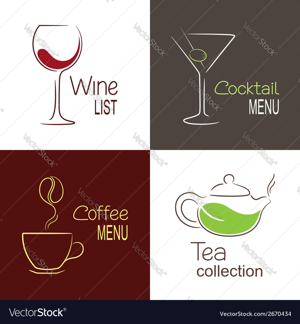 Drinks menu icons vector | Price: 1 Credit (USD $1)