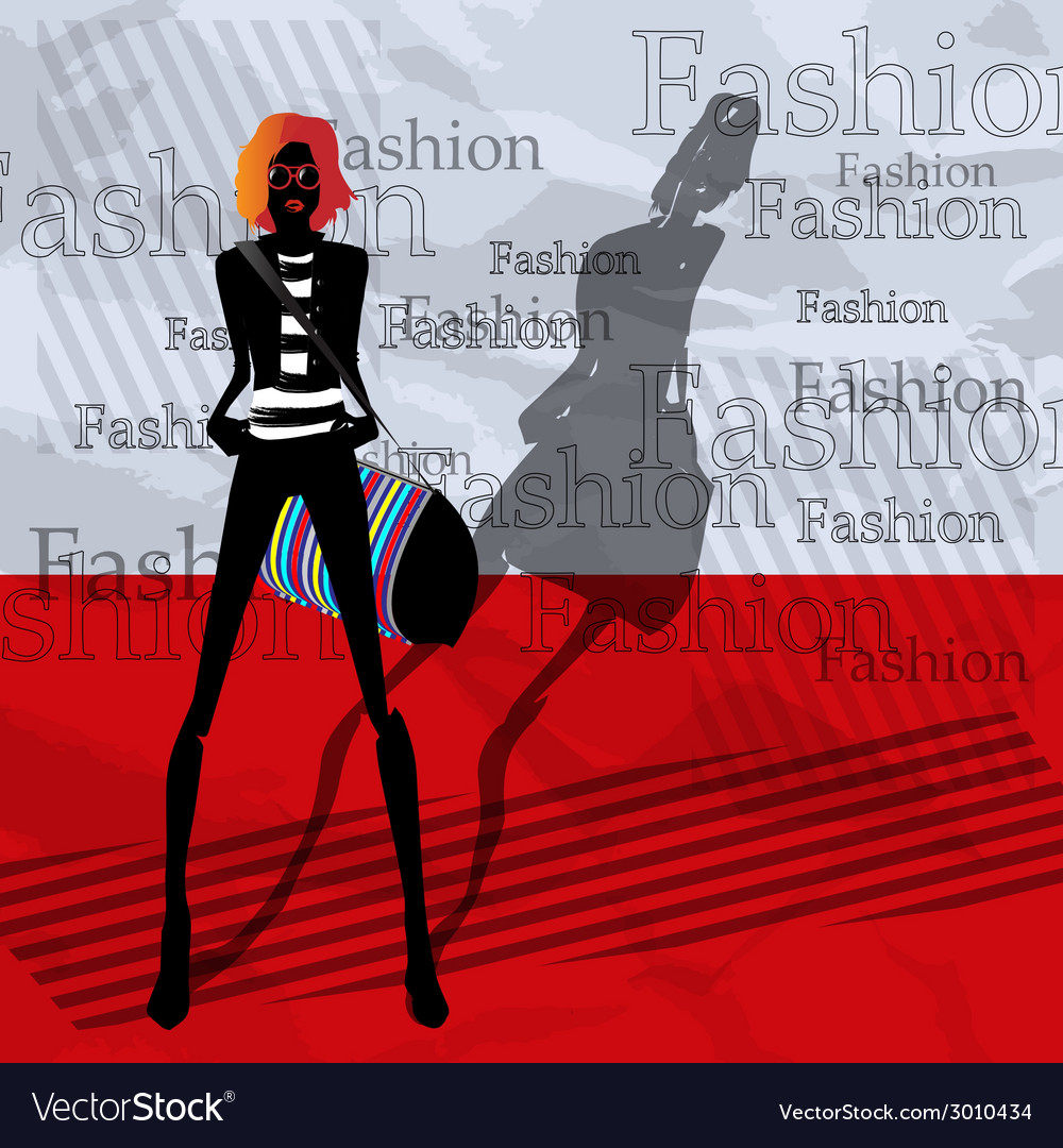 The fashionable girl with a bag on a red vector | Price: 1 Credit (USD $1)