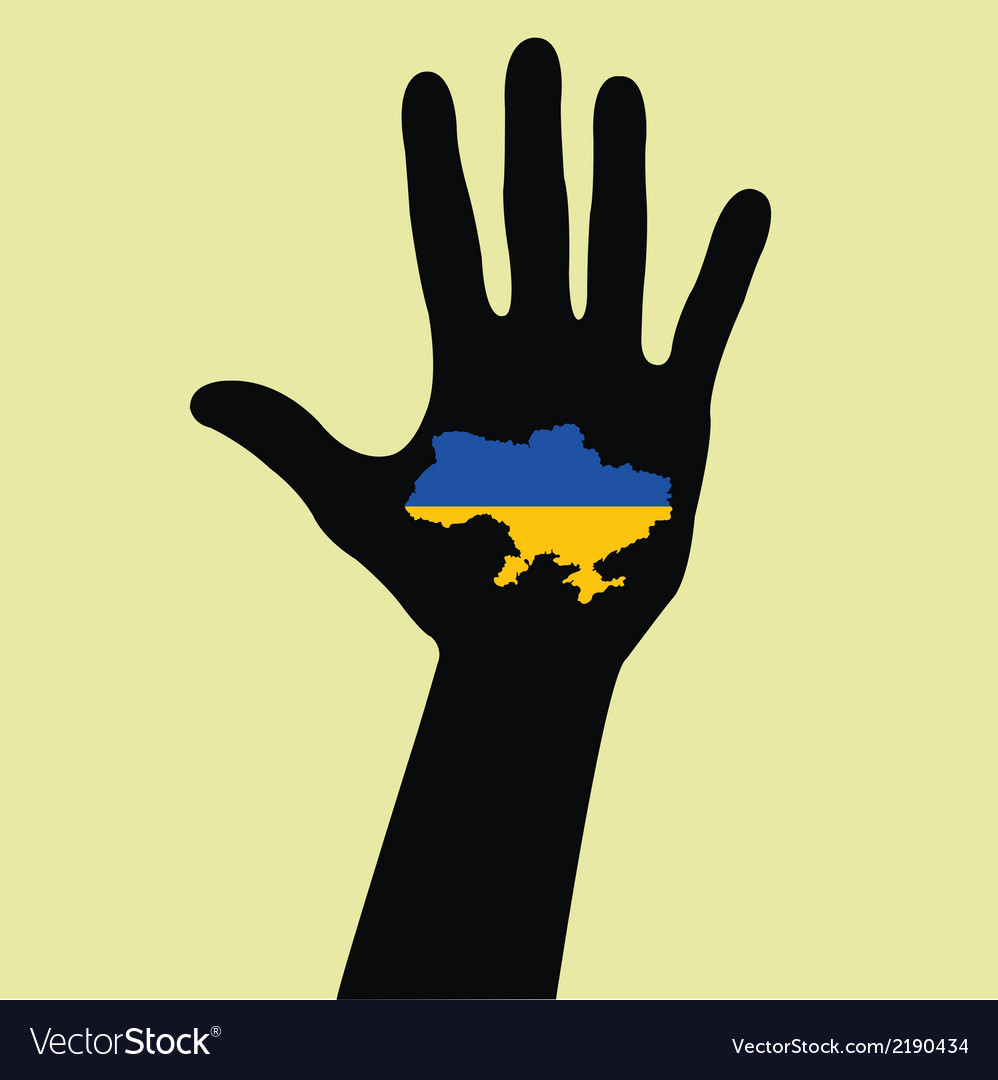 Hand with ukraine map with the flag inside vector | Price: 1 Credit (USD $1)