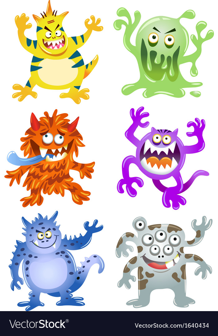 Set of funny cartoon monsters vector | Price: 1 Credit (USD $1)