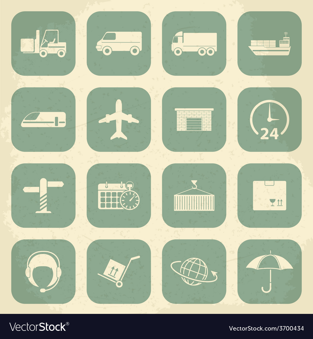 Shipping and logistics retro icons vector | Price: 1 Credit (USD $1)
