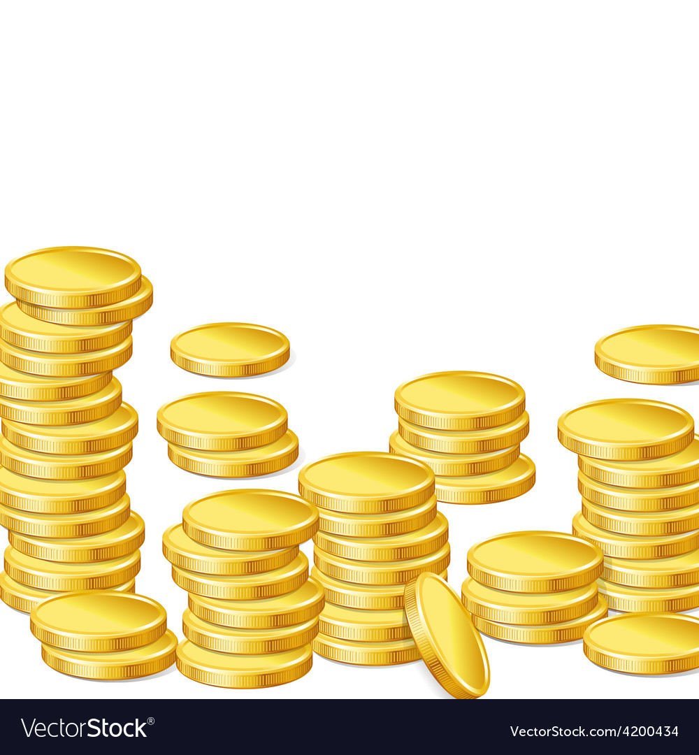 Stacks of gold coins on white background vector | Price: 1 Credit (USD $1)