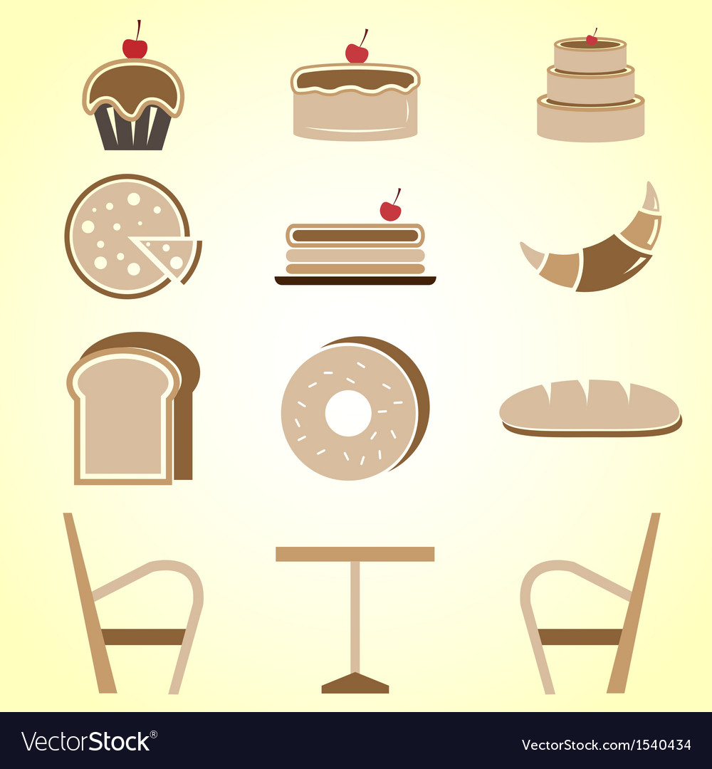 Variety of bakery color icons in coffee shop vector | Price: 1 Credit (USD $1)
