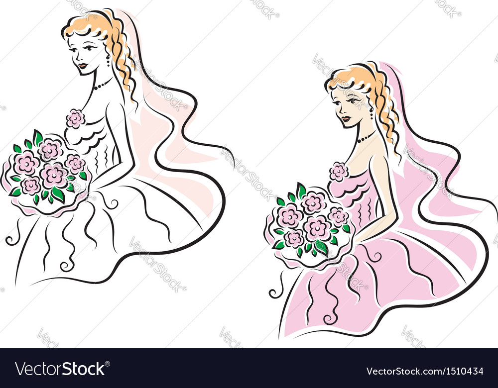 Young pretty bride on wedding ceremony vector | Price: 1 Credit (USD $1)