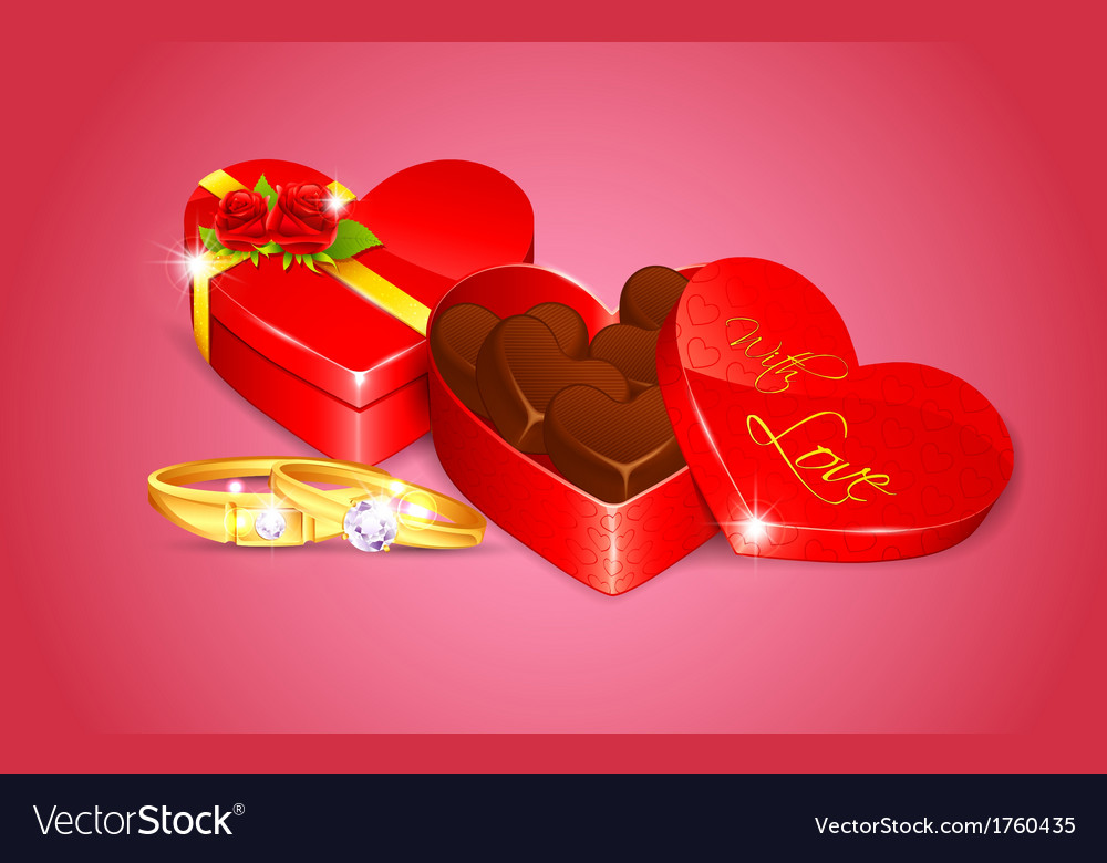 Chocolate in heart shape box vector | Price: 1 Credit (USD $1)