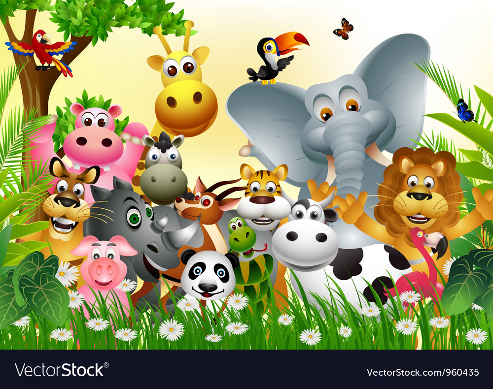 Funny animal cartoon vector | Price: 3 Credit (USD $3)