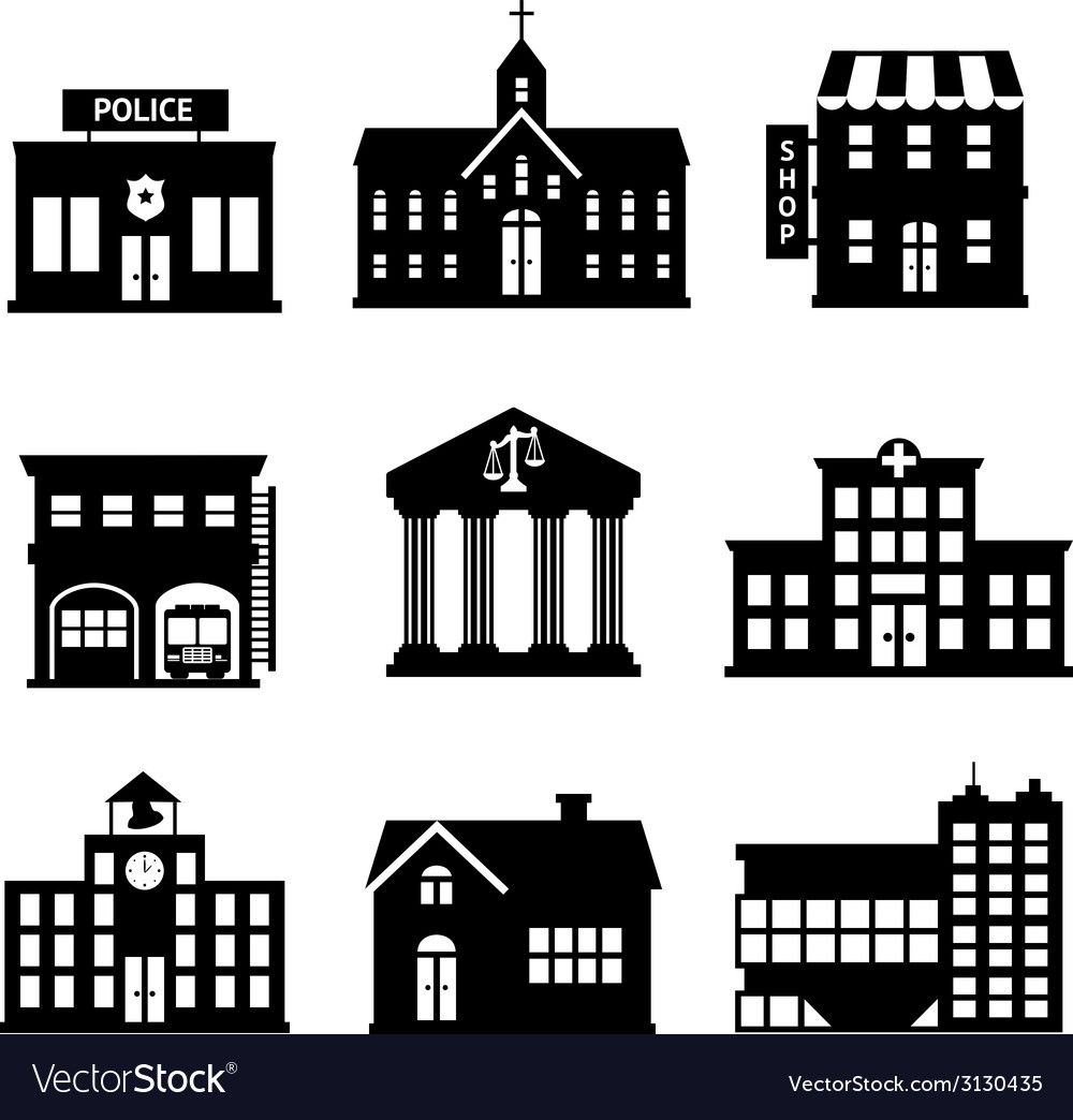 Government buildings black and white icons vector | Price: 1 Credit (USD $1)