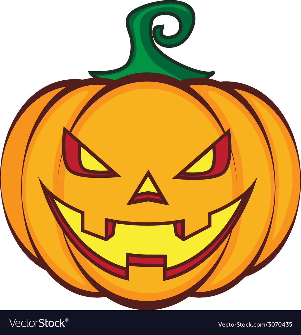 Halloween cartoon pumpkin jack lantern isolated on vector | Price: 1 Credit (USD $1)