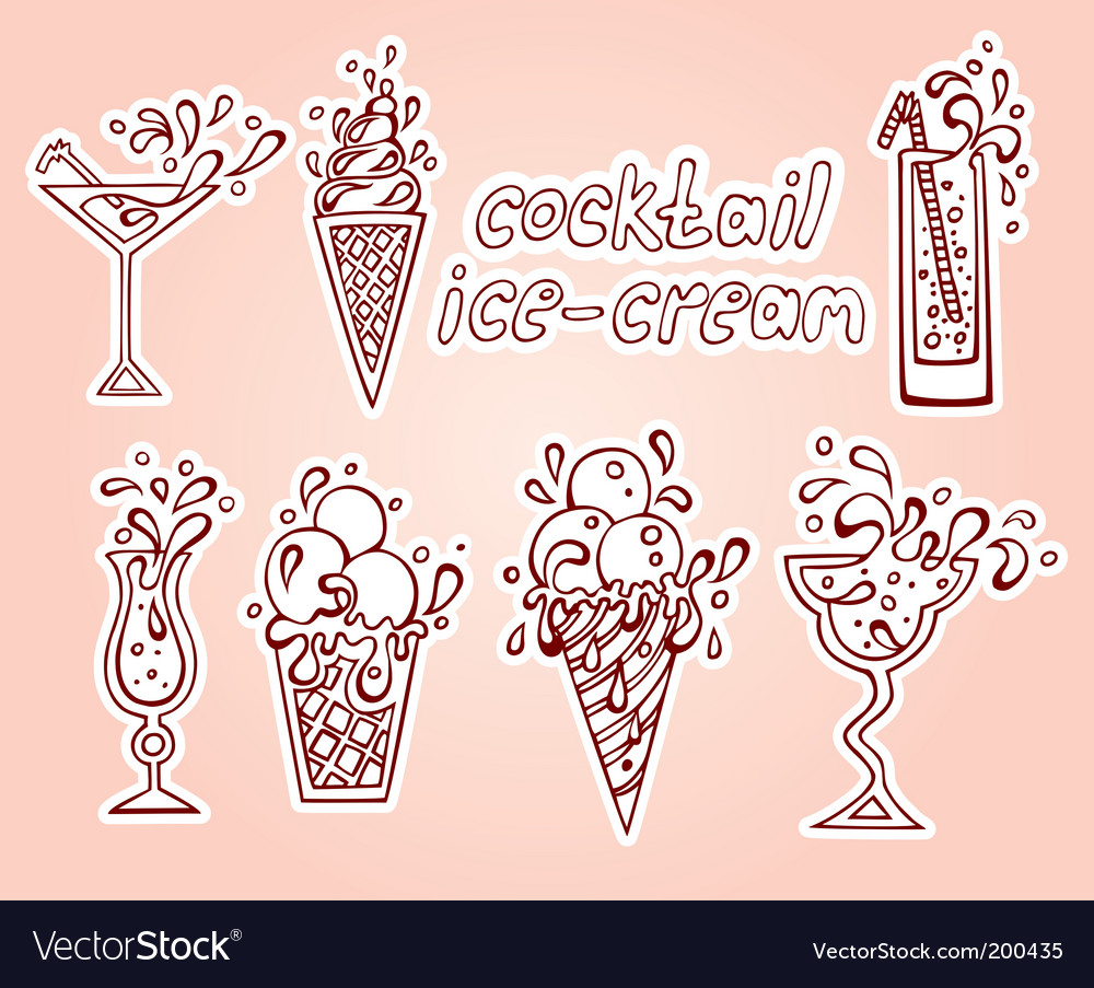 Ice-cream cocktails set vector | Price: 1 Credit (USD $1)