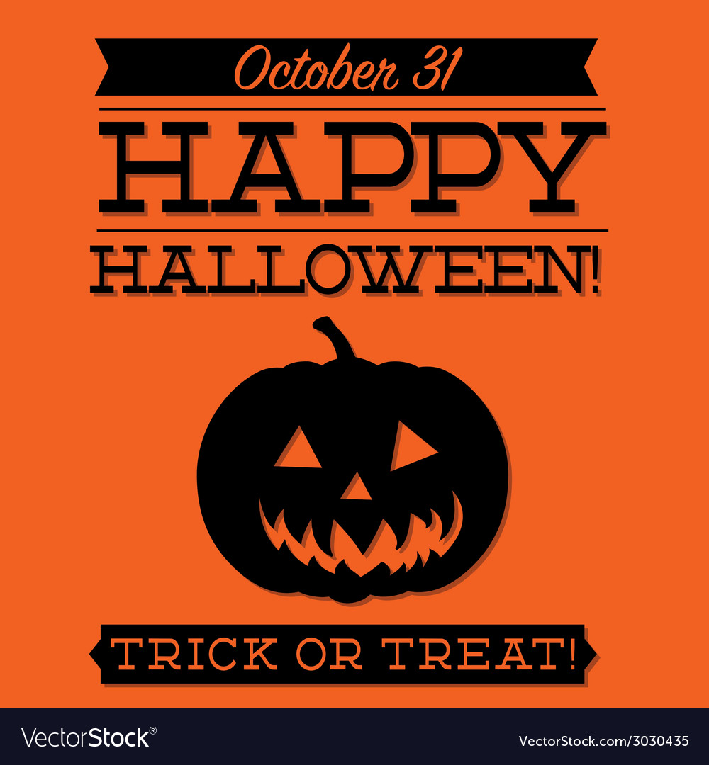 Jack o lantern typographic halloween card in vector | Price: 1 Credit (USD $1)