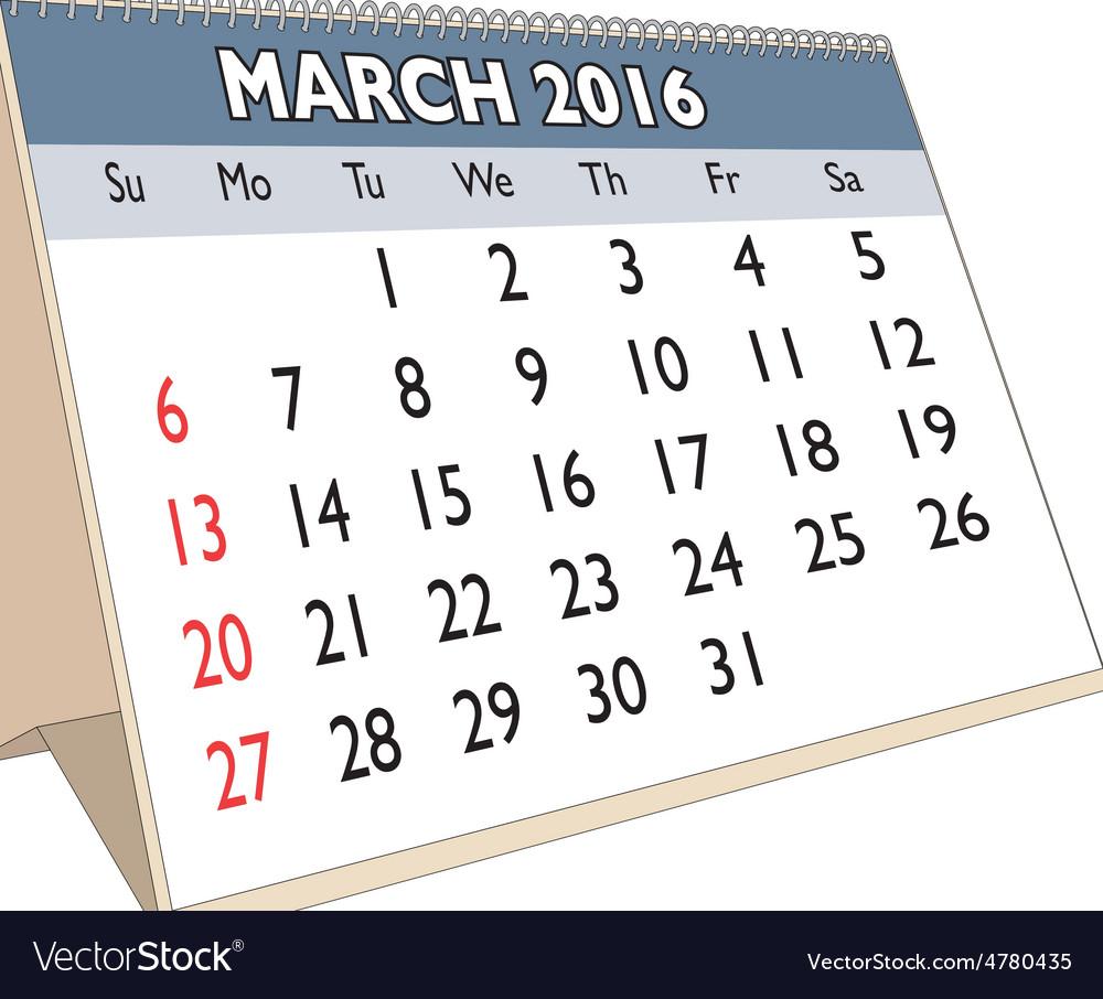 March 2016 vector | Price: 1 Credit (USD $1)