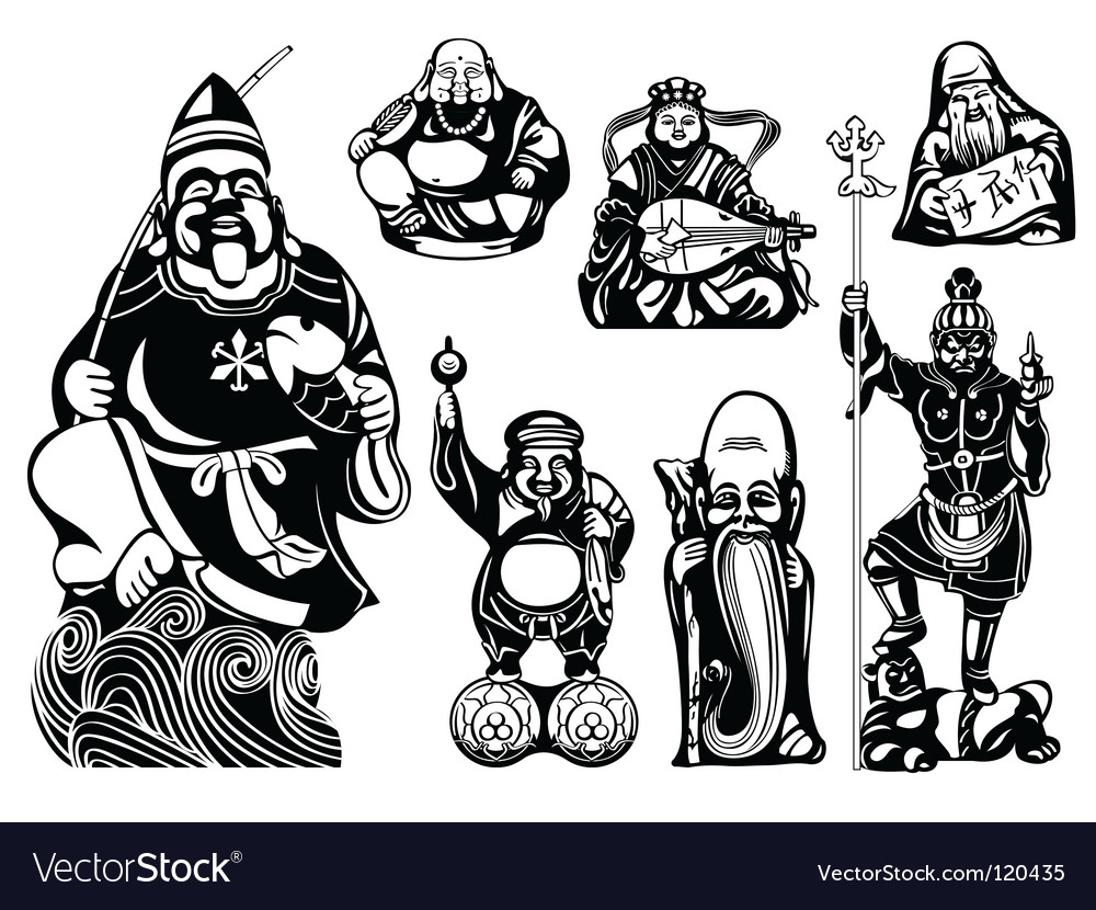 Seven lucky gods vector | Price: 1 Credit (USD $1)