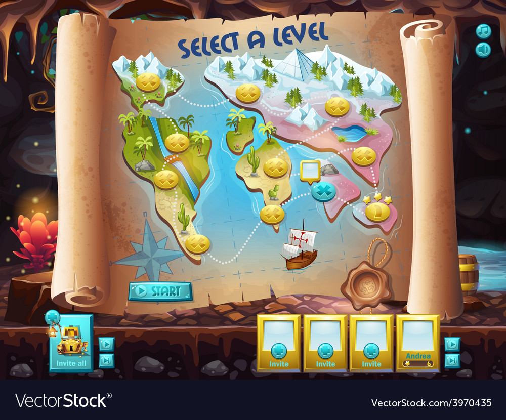 User interface select the level to play treasure vector | Price: 3 Credit (USD $3)