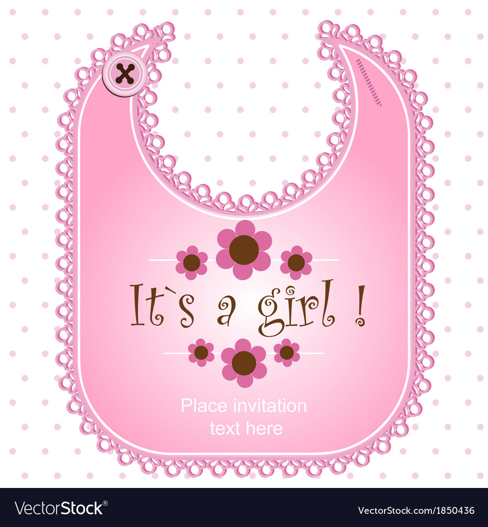 Baby shower card with a bib for a boy vector | Price: 1 Credit (USD $1)