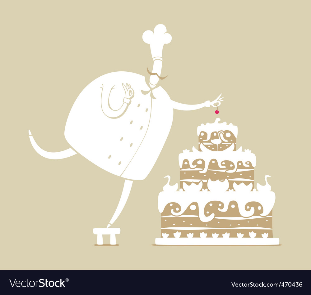 Cook and cake vector | Price: 1 Credit (USD $1)