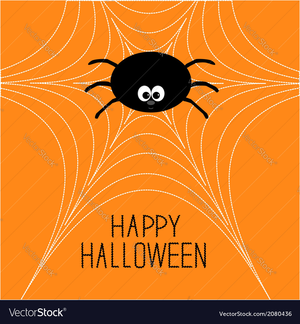 Cute cartoon spider on the web halloween card vector | Price: 1 Credit (USD $1)