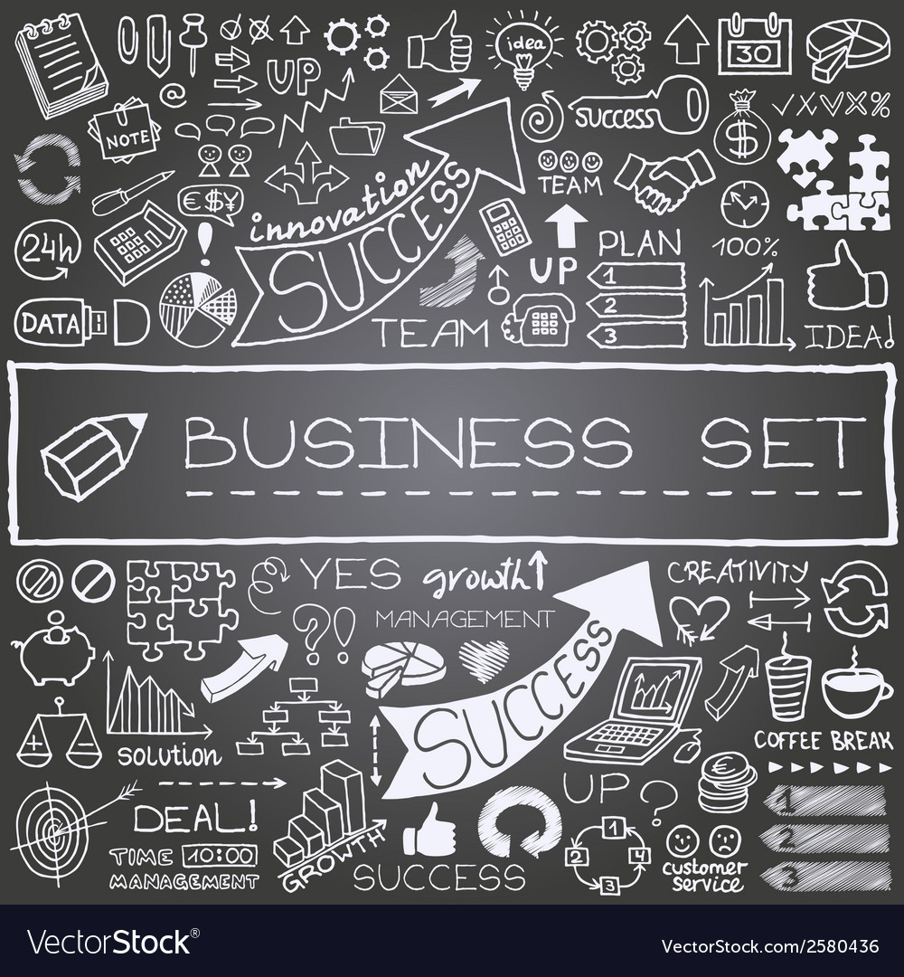 Hand drawn business icons set vector | Price: 1 Credit (USD $1)