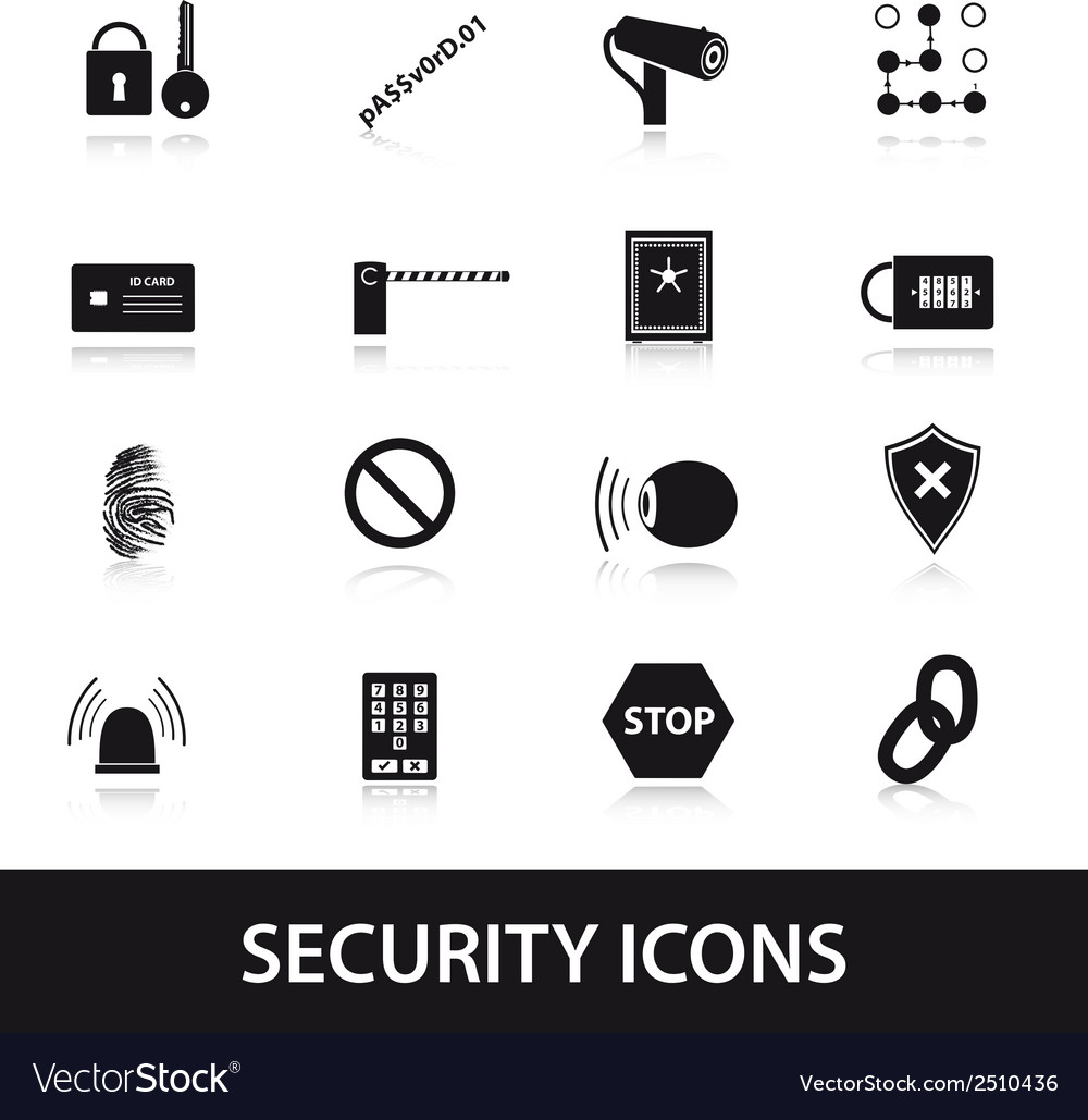 Security icons set eps10 vector | Price: 1 Credit (USD $1)