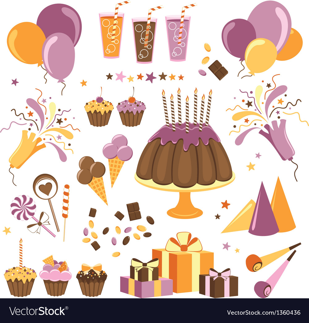 Set of celebration design elements vector | Price: 3 Credit (USD $3)