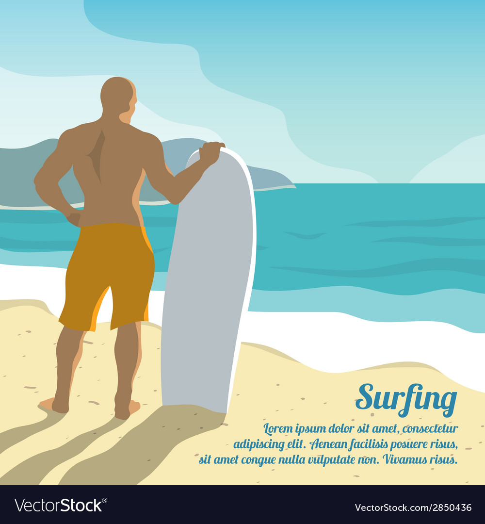 Surfing summer poster vector | Price: 1 Credit (USD $1)