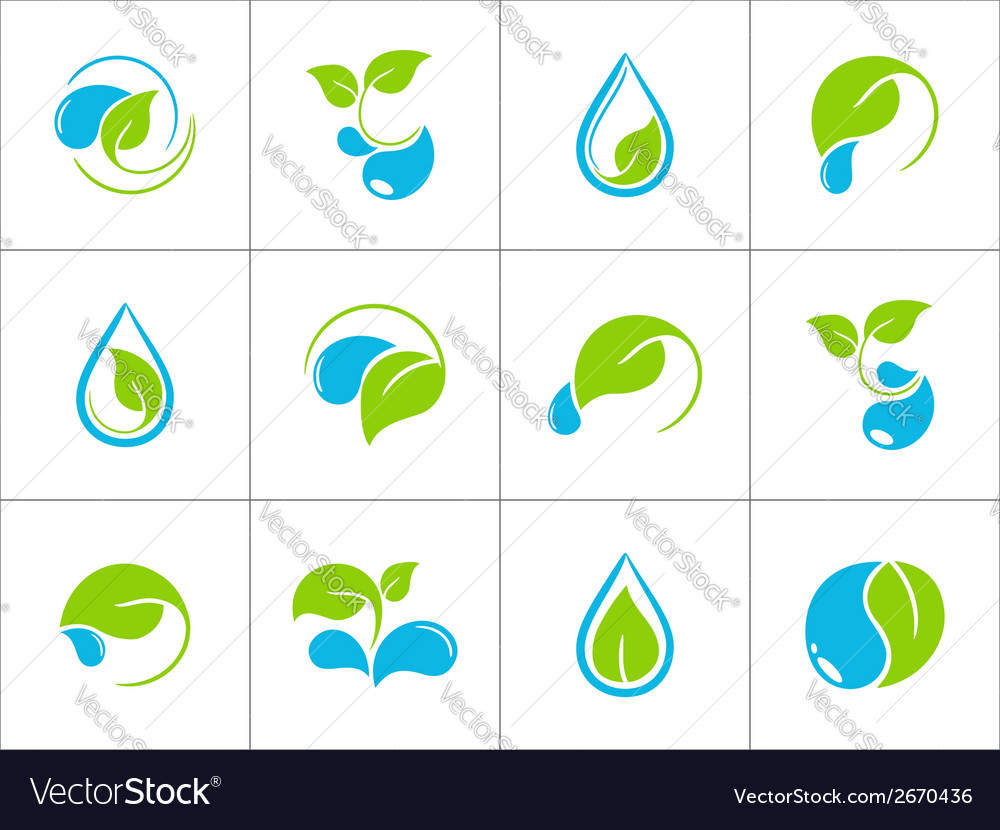 Water and leaves icons vector | Price: 1 Credit (USD $1)