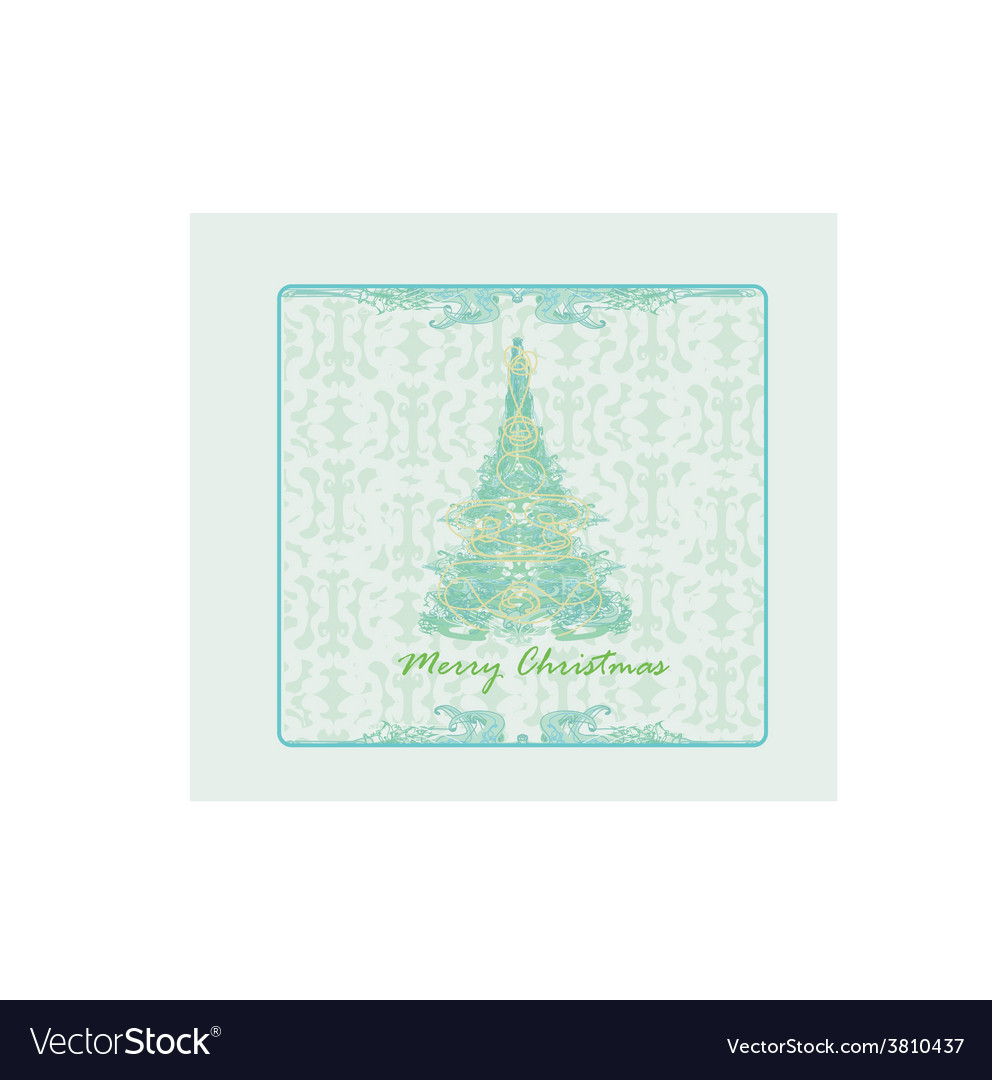 Abstract christmas tree card vector | Price: 1 Credit (USD $1)