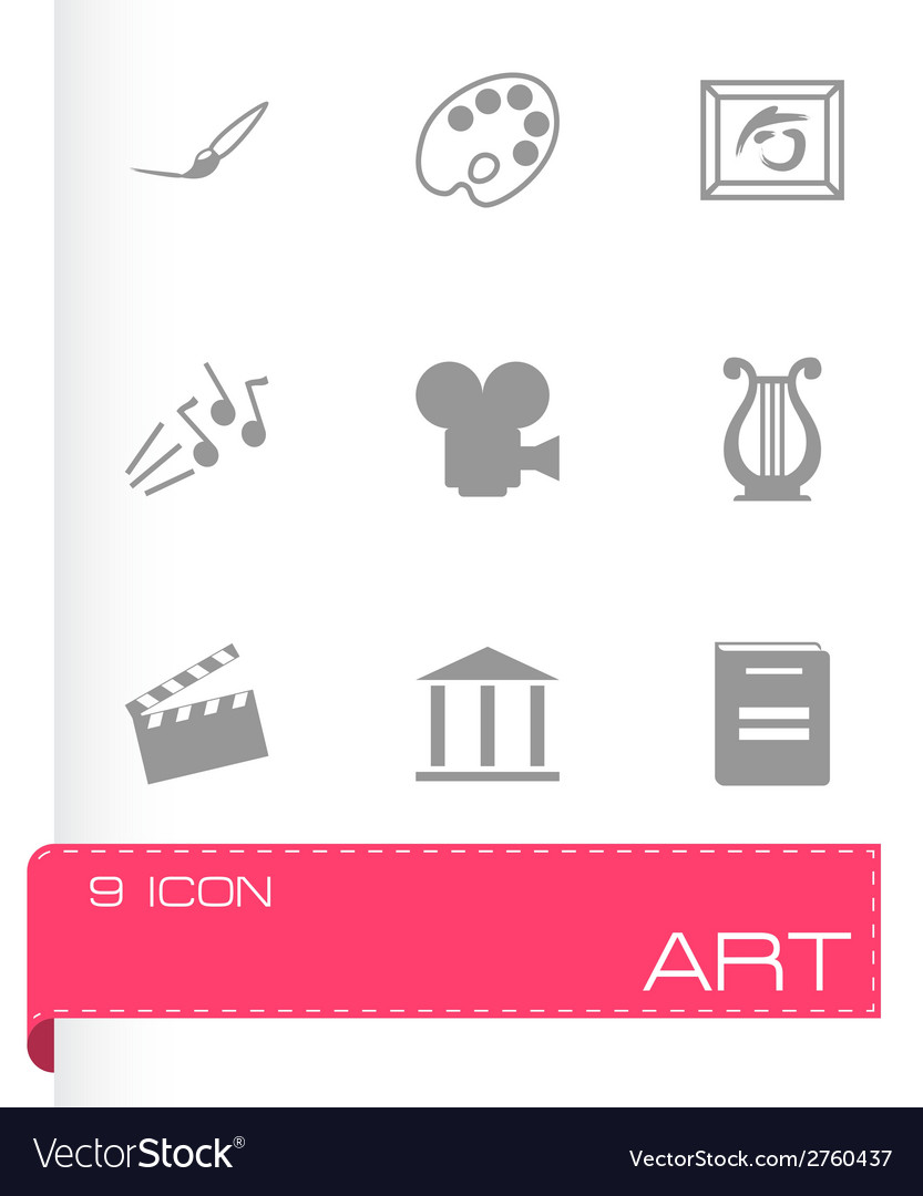 Black art icons set vector | Price: 1 Credit (USD $1)