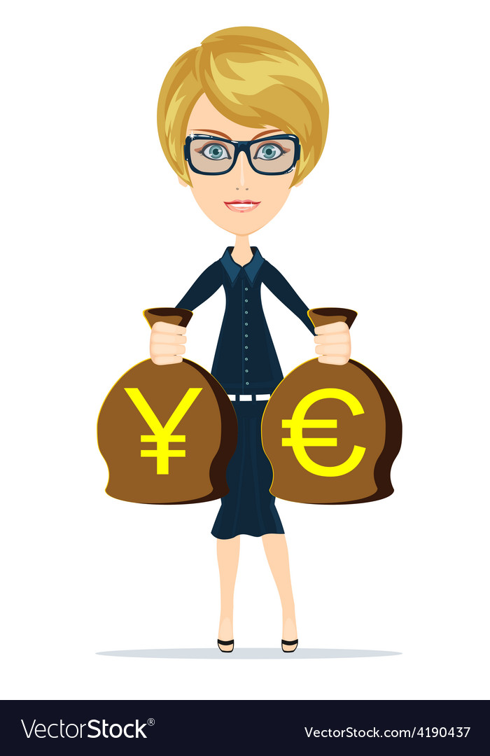 Business woman holding bags of money vector | Price: 1 Credit (USD $1)