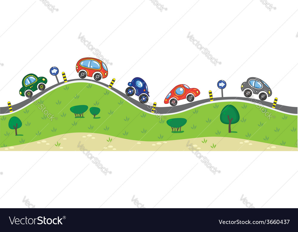 Cars on the road vector | Price: 1 Credit (USD $1)