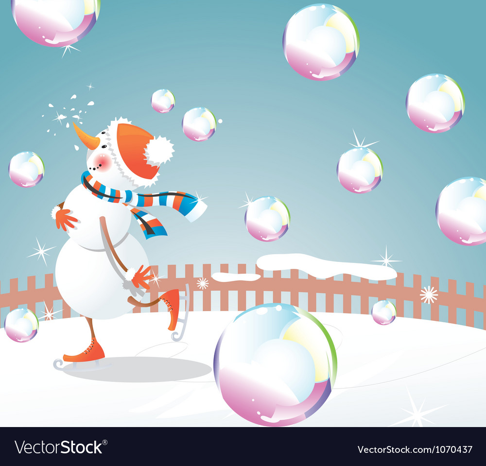 Christmas snowman and bubbles vector | Price: 3 Credit (USD $3)