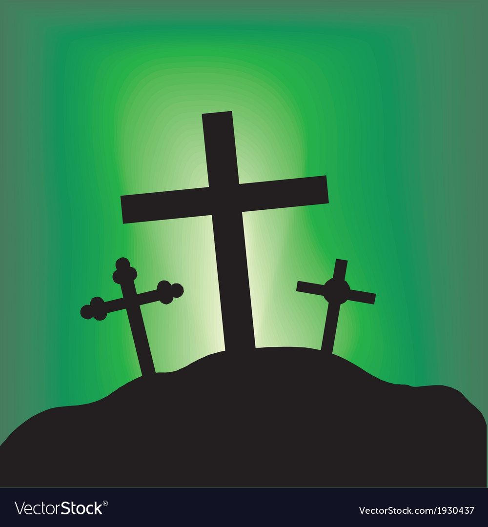 Cross top of a hill vector | Price: 1 Credit (USD $1)