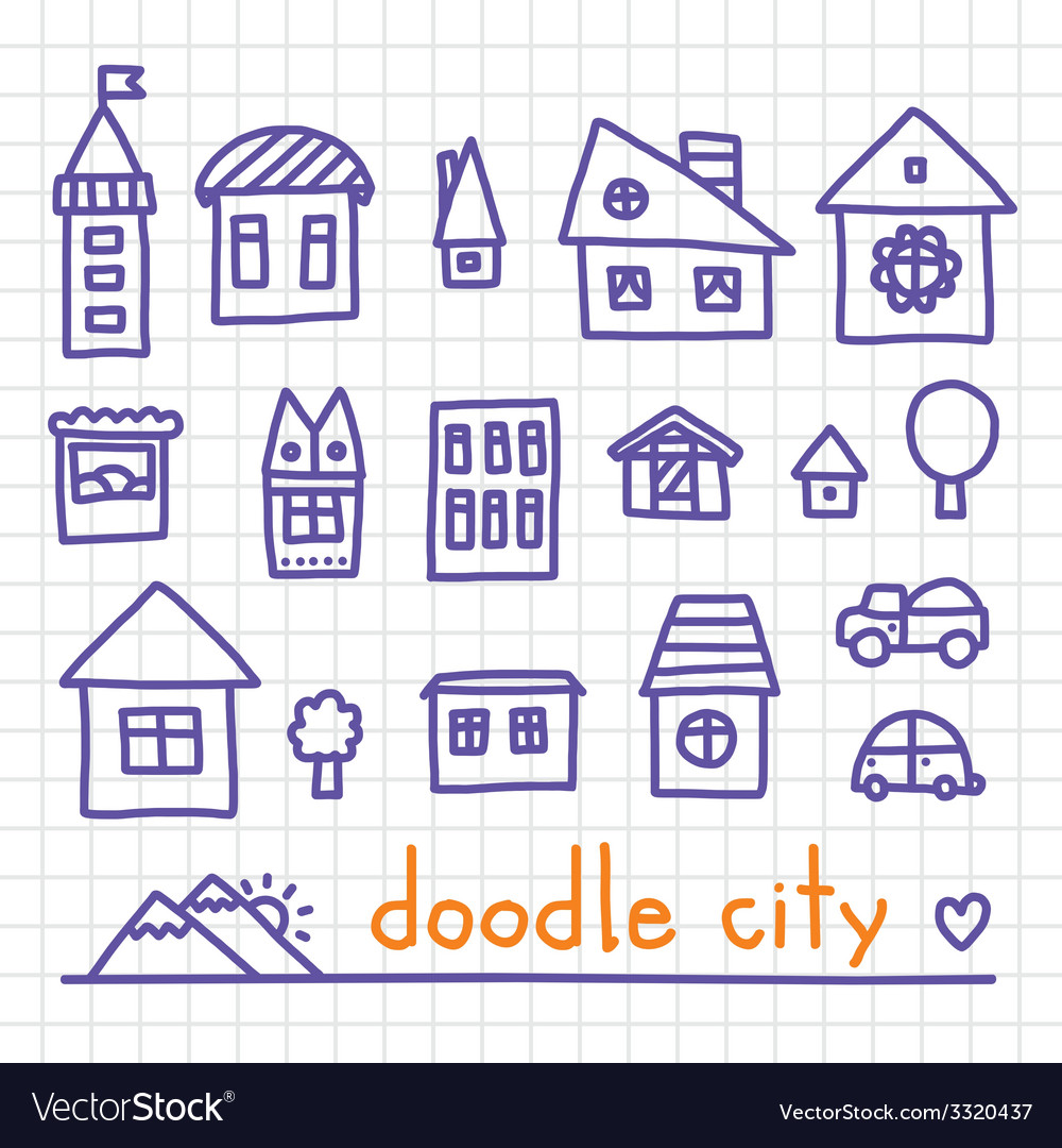 Doodle city vector | Price: 1 Credit (USD $1)