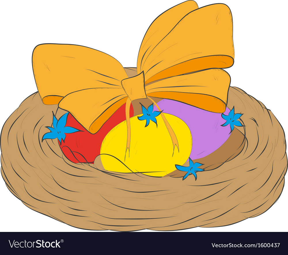 Easter eggs in a decorative nest vector | Price: 1 Credit (USD $1)
