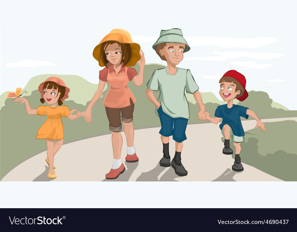 Family walk in the park vector | Price: 3 Credit (USD $3)