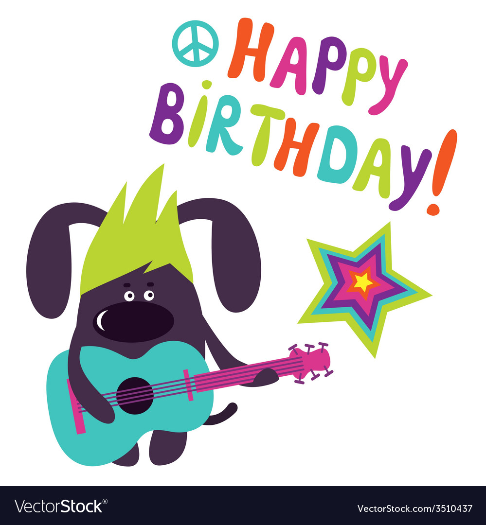 Happy birthday card with dog guitarist vector | Price: 1 Credit (USD $1)