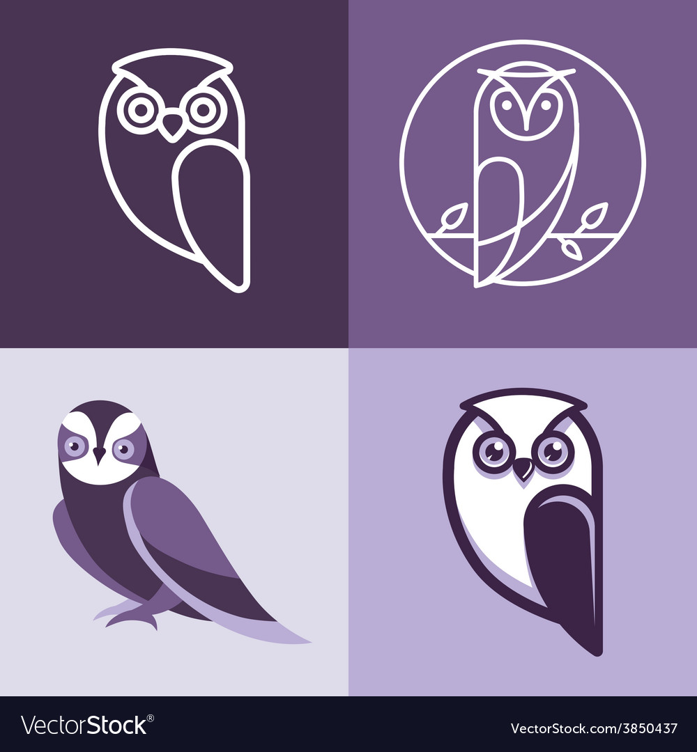 Set of owl logos and emblems vector | Price: 1 Credit (USD $1)
