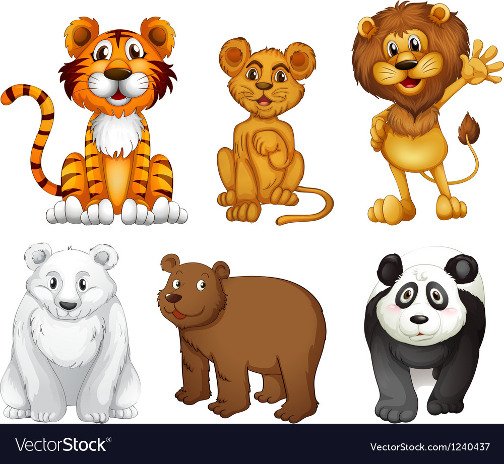 Six wild animals vector | Price: 1 Credit (USD $1)