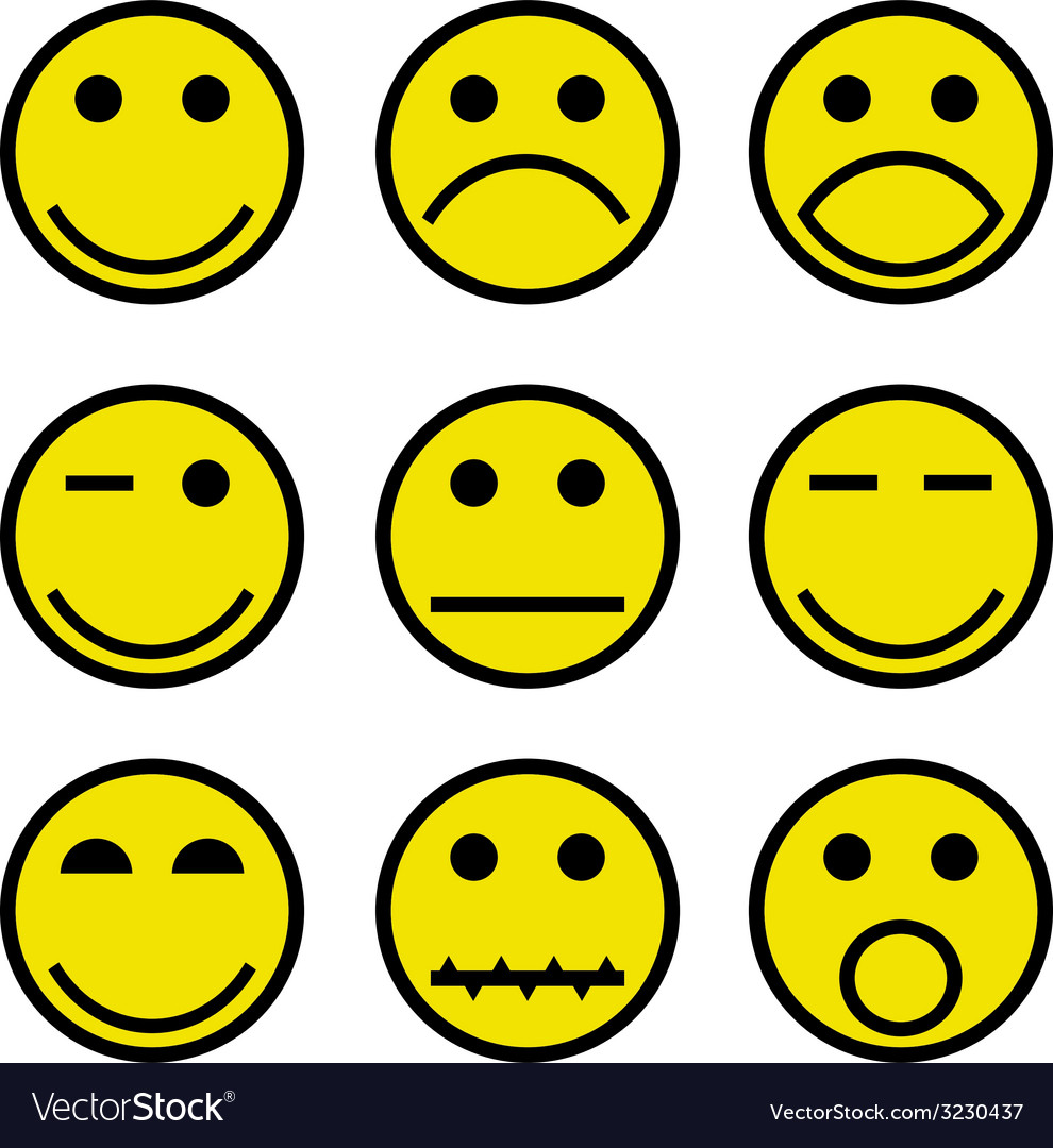 Smilies and faces vector | Price: 1 Credit (USD $1)