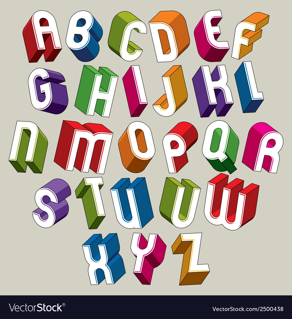 3d font colorful letters geometric dimensional vector | Price: 1 Credit (USD $1)