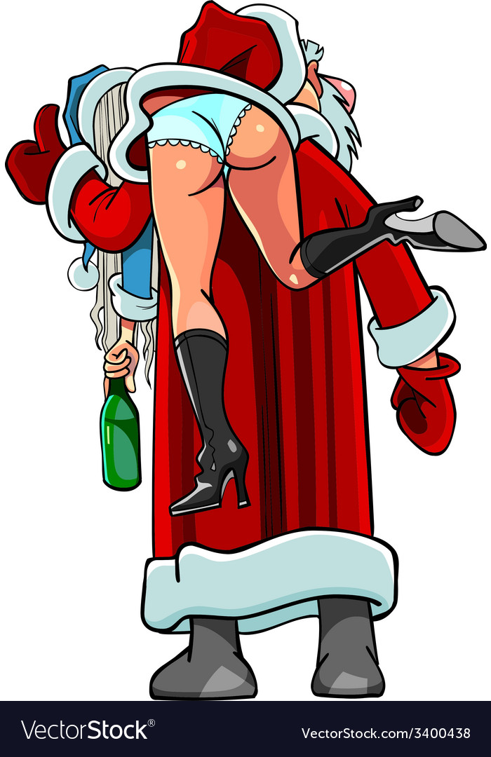 Caricature cartoon santa claus shouldered drunken vector | Price: 3 Credit (USD $3)