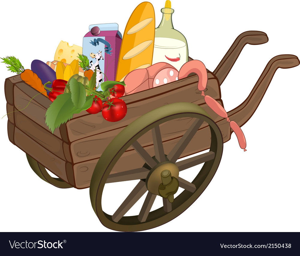The cart with products cartoon vector | Price: 1 Credit (USD $1)