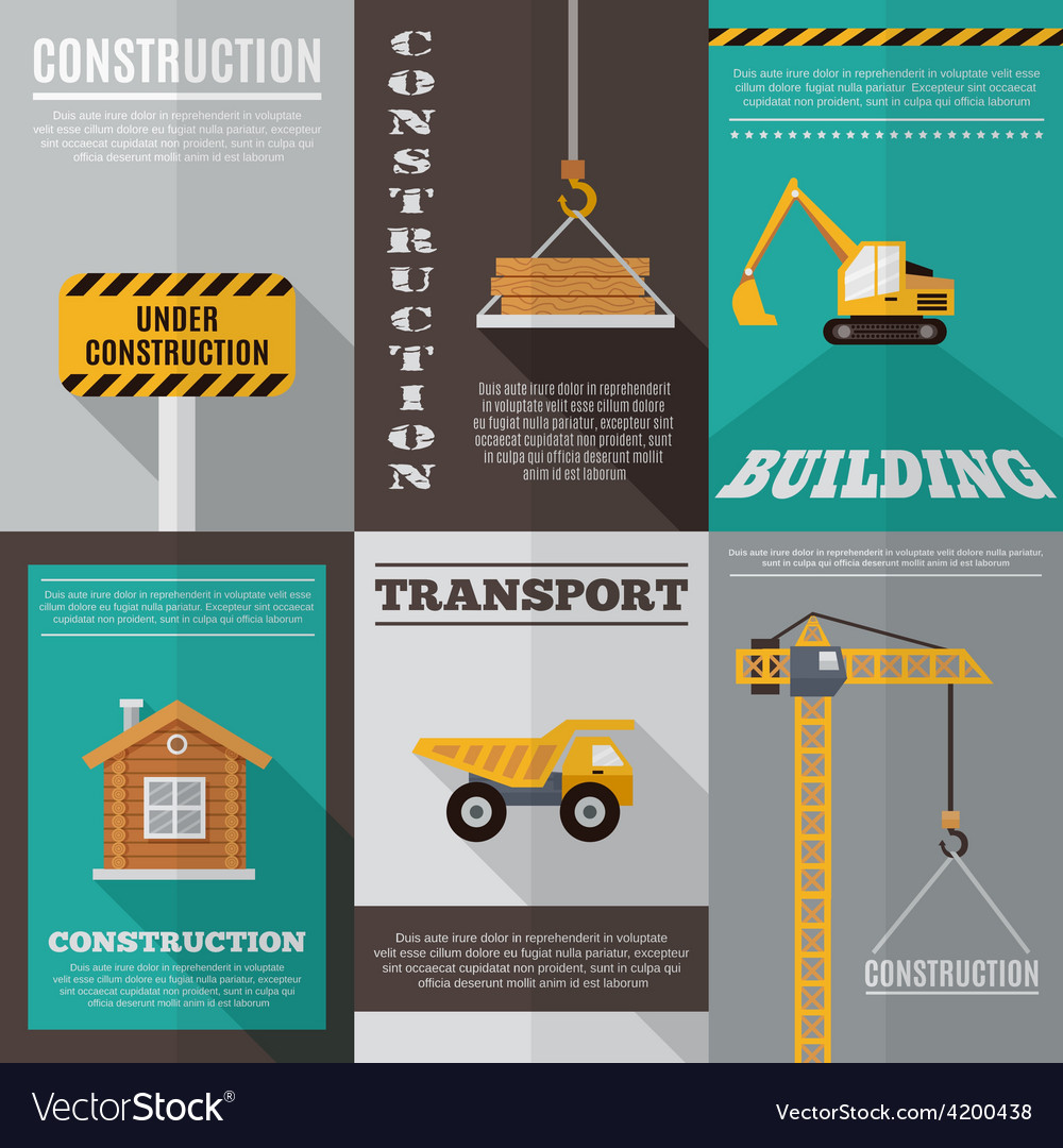Construction poster set vector | Price: 1 Credit (USD $1)