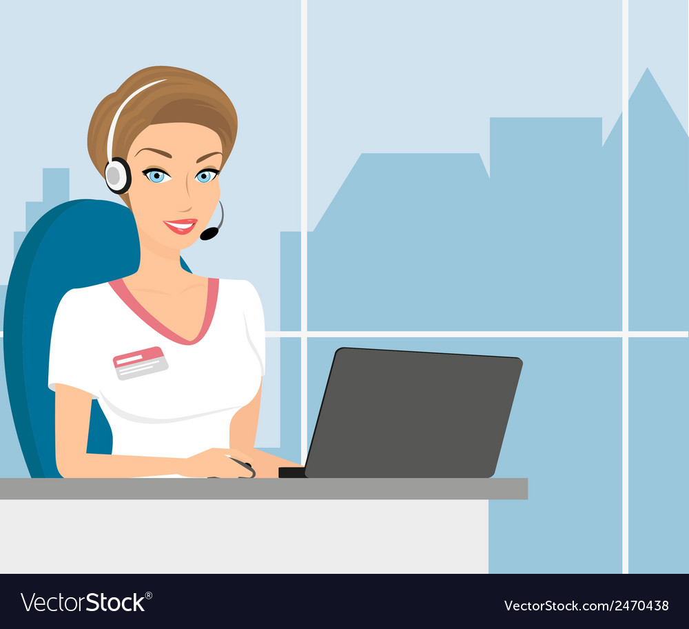 Female call centre operator vector | Price: 1 Credit (USD $1)